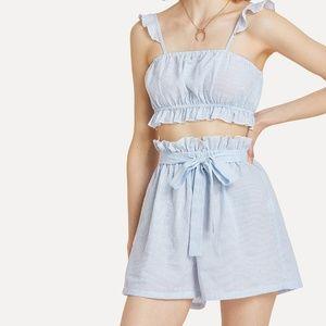 Tops - Ruffle Striped Cami & Shorts sz M